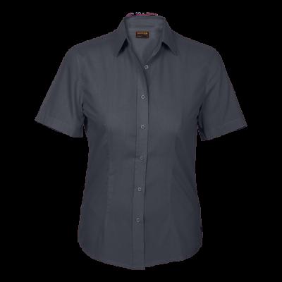 Ladies Basic Poly Cotton Blouse Short Sleeve Grey Size 3XL