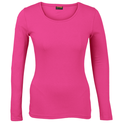 Ladies 145g Long sleeve T-shirt Bright Pink Size XS