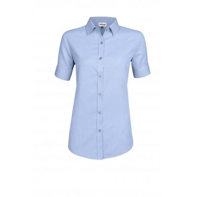 Ladies Short Sleeve Nottingham Shirt Sky Blue Size Small