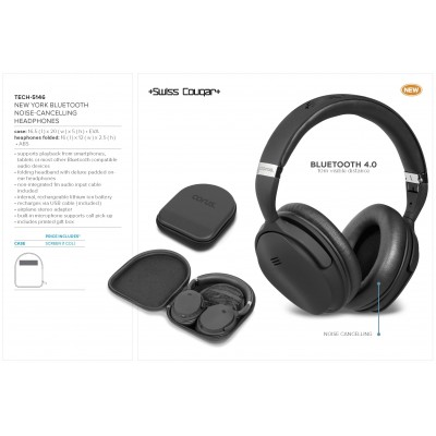 Swiss Cougar New York Bluetooth Noise-Cancelling Headphones Black