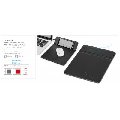 Ashburton Mousepad With Wireless Charger Black