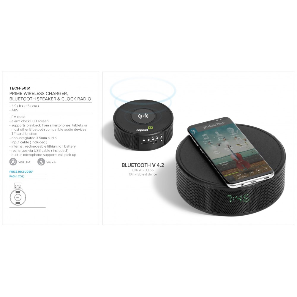Prime Wireless Charger, Bluetooth Speaker & Clock  Black