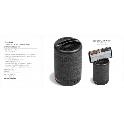 Tower Bluetooth Speaker & Phone Holder Grey