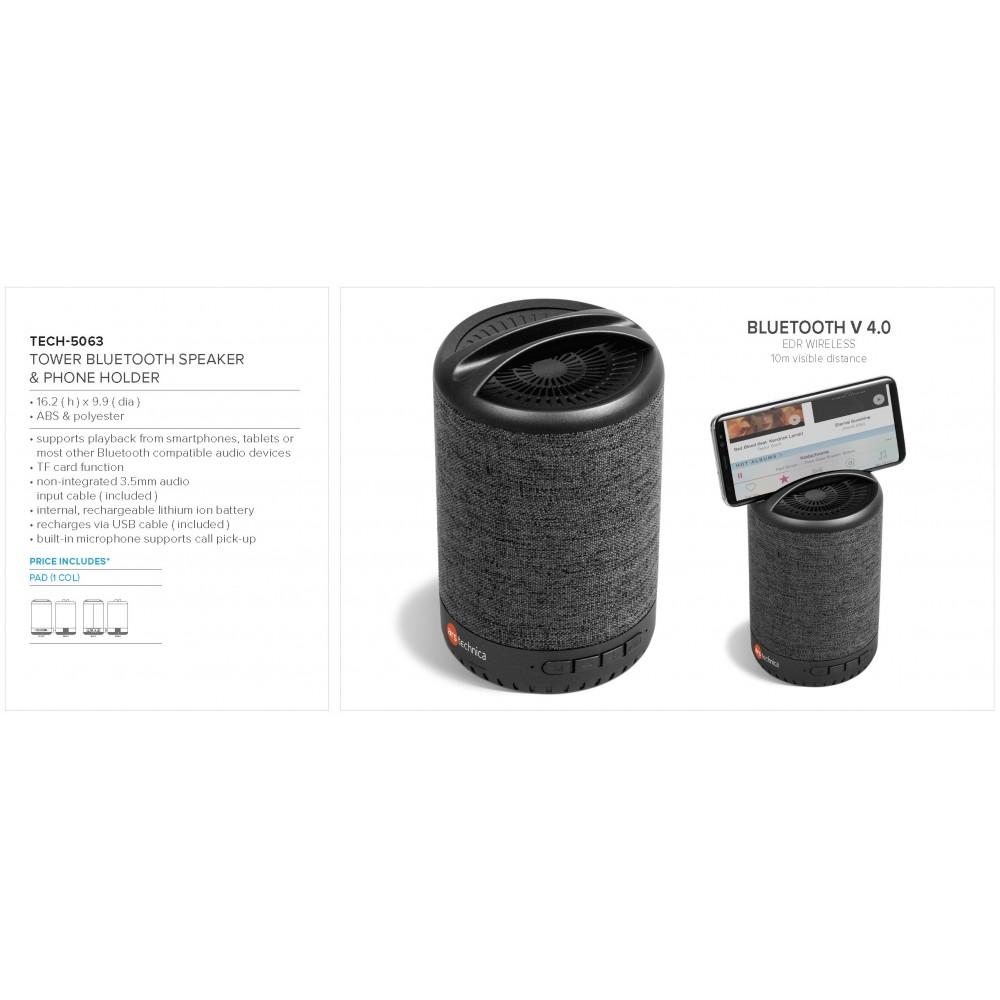 Tower Bluetooth Speaker & Phone Holder Grey