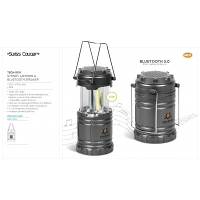 Swiss Cougar Sydney Lantern & Bluetooth Speaker Gun Metal