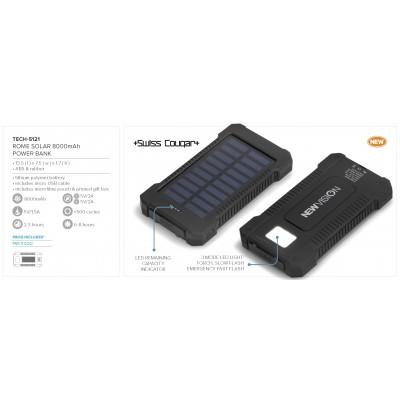 Swiss Cougar Rome Solar 8000mah Power Bank Black