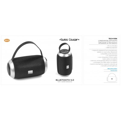 Swiss Cougar London Bluetooth Speaker & Fm Radio Black