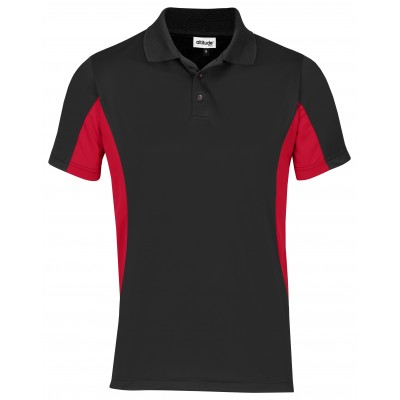 Kids Championship Golf Shirt Black With Red Size 8