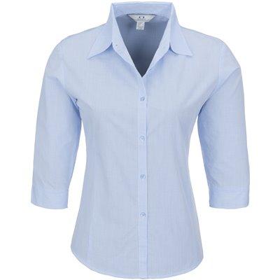 Ladies 3/4 Sleeve Micro Check Shirt Sky Blue Size 2XL