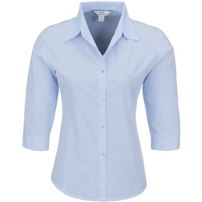 Ladies 3/4 Sleeve Micro Check Shirt Sky Blue Size XL
