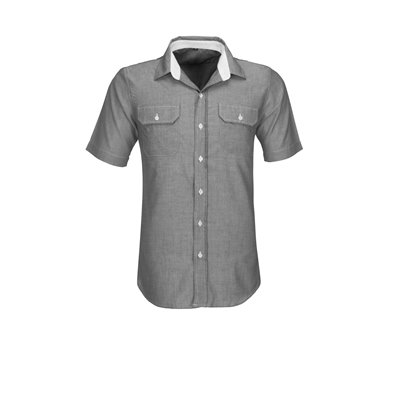 Mens Short Sleeve Windsor Shirt Grey Size Medium