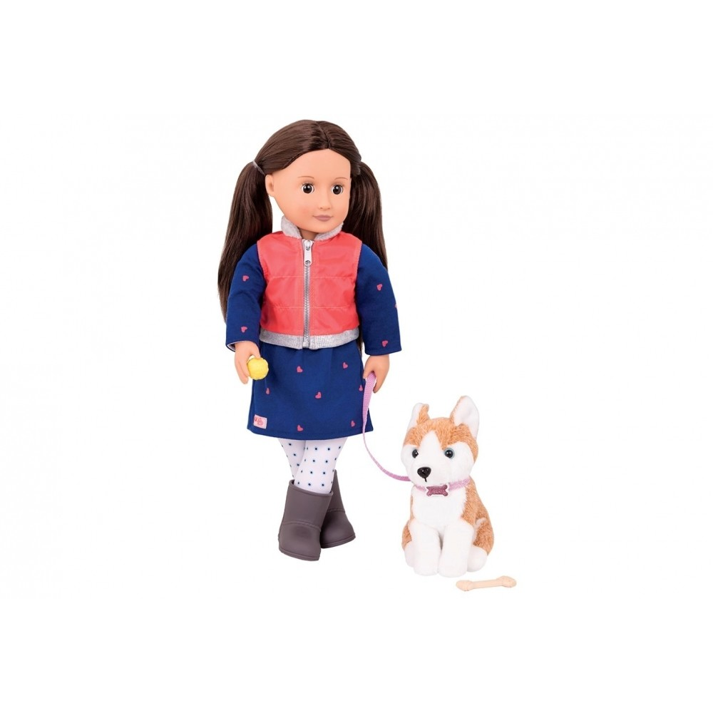 Our Generation Classic Doll Leslie Brunette With Pet Husky