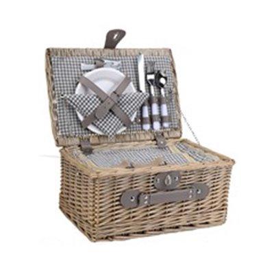 2-Person Wicker Picnic Basket Grey/Brown