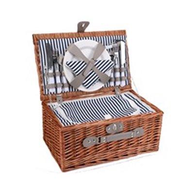 4-Person Wicker Picnic Basket Brown