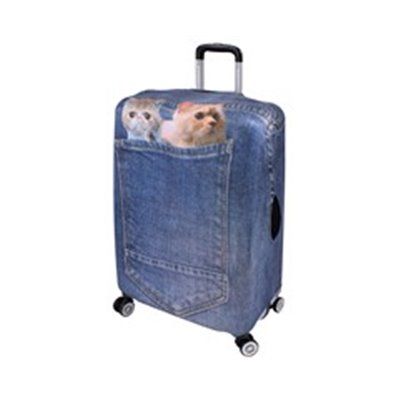 Stretch Luggage Cover - 28 inch [Cats] Denim