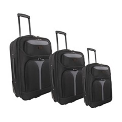 Marco Soft Case Luggage Bag Set [of 3] Black/Grey