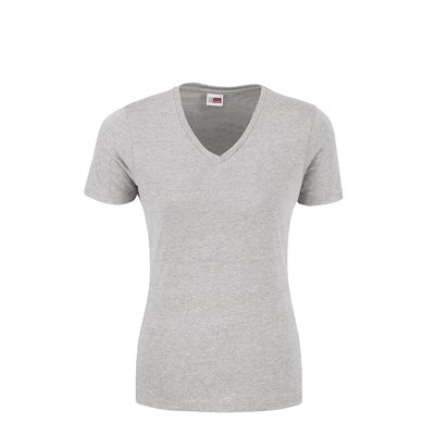 US Basic Ladies Michigan Melange V-Neck T-Shirt Grey Size 4XL