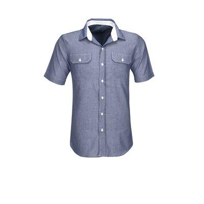 US Basic Mens Short Sleeve Windsor Shirt Navy Size 3XL