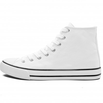 Unisex Retro High Top Canvas Sneaker White Size 11