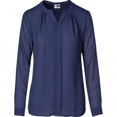US Basic Ladies Long Sleeve Zenobia Blouse Navy Size S