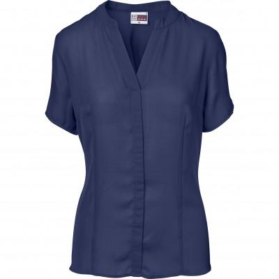 US Basic Ladies Short Sleeve Ava Blouse Navy Size S