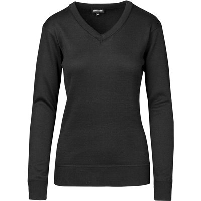 Ladies Long Sleeve Peru V-Neck Jersey Black Size 2XL