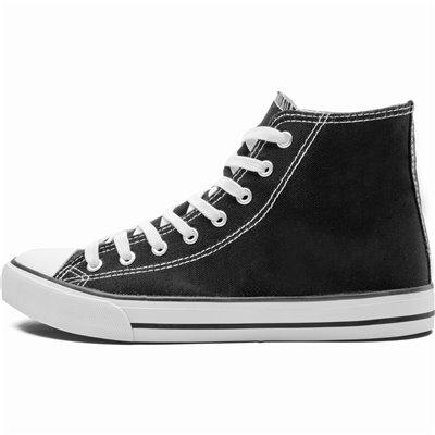 Unisex Retro High Top Canvas Sneaker Black Size 2