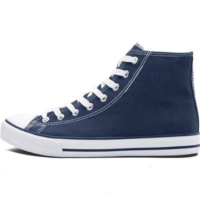 Unisex Retro High Top Canvas Sneaker Navy Size 2
