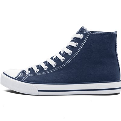 Unisex Retro High Top Canvas Sneaker Navy Size 5