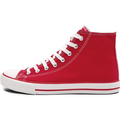 Unisex Retro High Top Canvas Sneaker Red Size 4