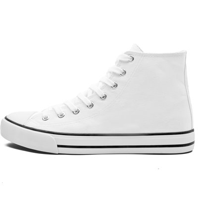 Unisex Retro High Top Canvas Sneaker White Size 8
