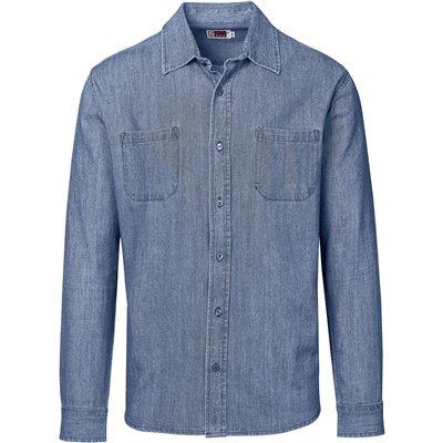 US Basic Mens Long Sleeve Eastwood Shirt Blue Size XL