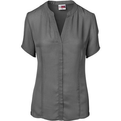 US Basic Ladies Short Sleeve Ava Blouse Charcoal Size M