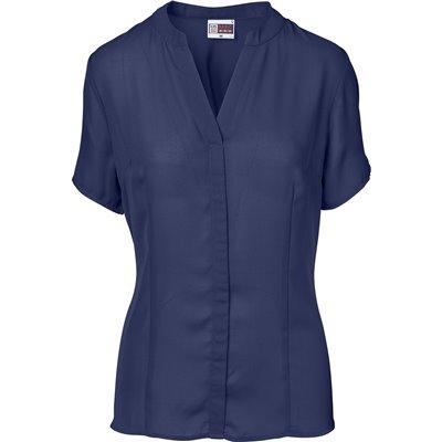 US Basic Ladies Short Sleeve Ava Blouse Navy Size M
