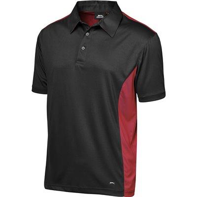 Slazenger Mens Glendower Golf Shirt Black/Red Size 5XL
