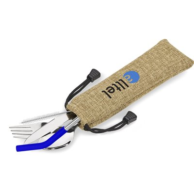 Kooshty Safari Cutlery & Straw Set Blue