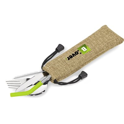 Kooshty Safari Cutlery & Straw Set Lime