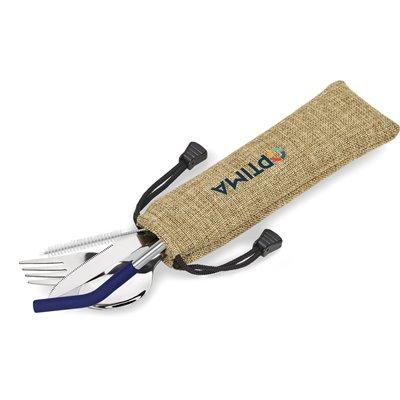 Kooshty Safari Cutlery & Straw Set Navy