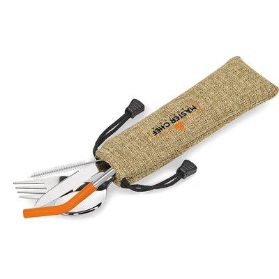 Kooshty Safari Cutlery & Straw Set Orange