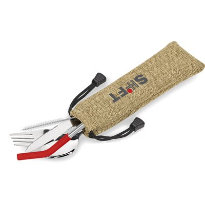 Kooshty Safari Cutlery & Straw Set Red