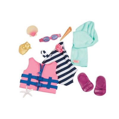 Our Generation Regular Swimsuit & Life Vest - Fun Day Sun Day