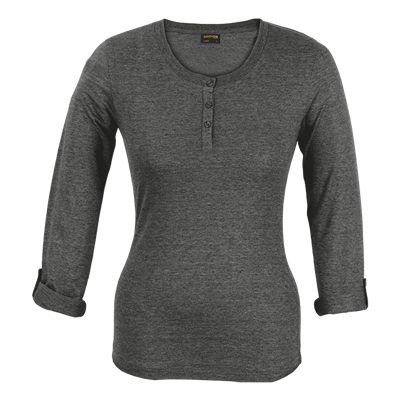 Ladies 145g Henley Long Sleeve T-Shirt Charcoal Size Medium