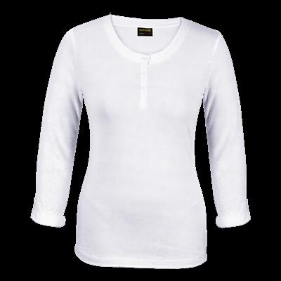 Ladies 145g Henley Long Sleeve T-Shirt White Size Medium