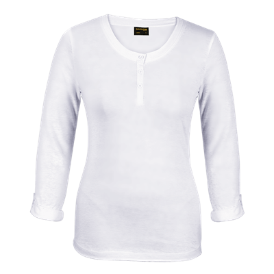 Ladies 145g Henley Long Sleeve T-Shirt White Size Small