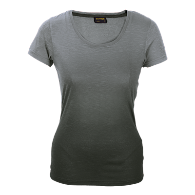 Ladies Bailey Crew Neck T-Shirt Grey/Charcoal Size Small