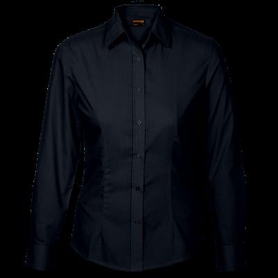 Ladies Basic Poly Cotton Blouse Long Sleeve  Black Size 4XL