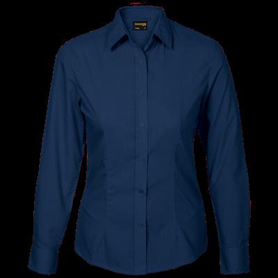 Ladies Basic Poly Cotton Blouse Long Sleeve  Navy Size Medium