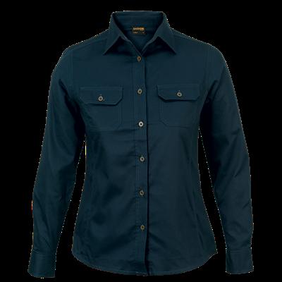 Ladies Bush Shirt Long Sleeve  Navy Size 3XL