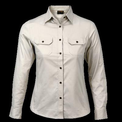 Ladies Bush Shirt Long Sleeve  Stone Size 3XL