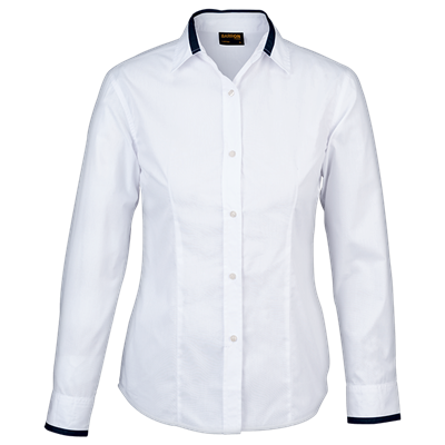 Ladies Dallas Lounge Shirt Long Sleeve  White/Navy Size Small